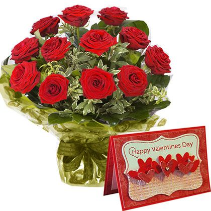 12 Red Roses with Valentines Greeting Card