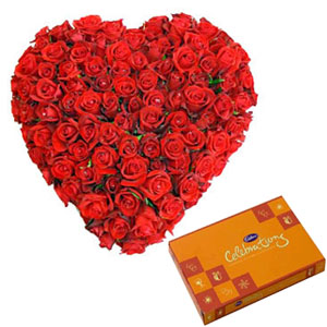 50 Red Roses Heart n Celebration