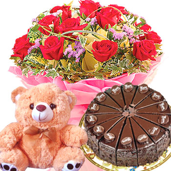 12 Roses, Cake and Teddy