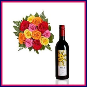 12 Mix Roses Bunch with Sula Red Wine