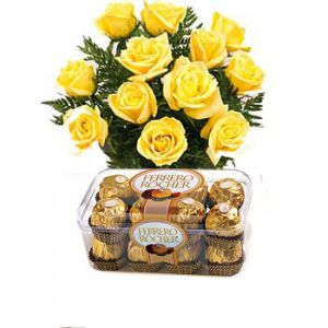 Yellow Roses n 16Pcs Ferrero Chocolates