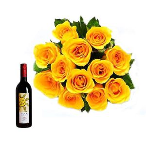 Yellow Roses with Sula Wine