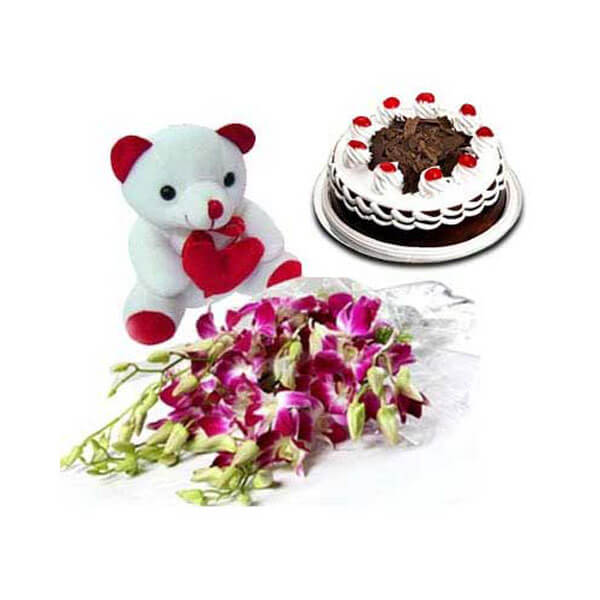 Orchids with Blackforest Cake n Teddy