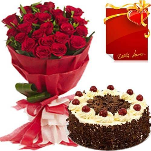 Red Rose Bouquet with Black Forest Cake n Card