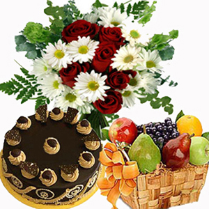 Roses With Cake And Fruit Basket
