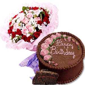 Send Seasonal Flowers With 1 2 Kg Chocolate Cake To India