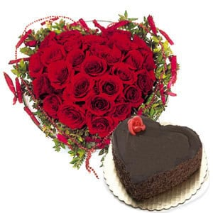 40 Red Roses With 1kg Chocolate Cake