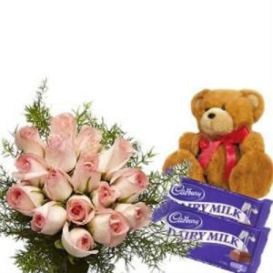 12 Pink Roses Bunch With Chocolates And Soft Toy