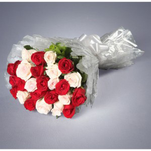 25 Long Stem Red And White Roses Bouquet