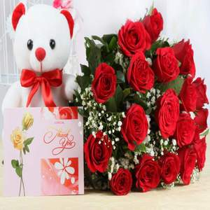 12 Red Roses Bunch 1 Teddy Bear And Greeting Card