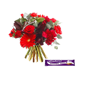 Red Rose And Carnations With Chocolate