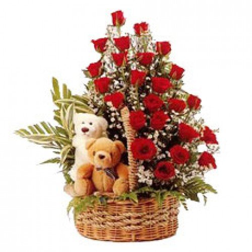 2 Teddies And Rose Basket