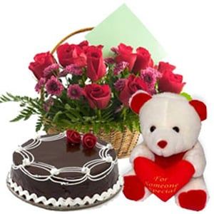 Rose Basket Cake And Teddy