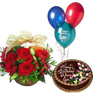 Cake Balloons N Rose Basket