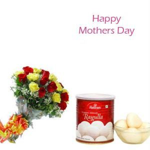 12 Mix Roses With 1Kg Rasgulla