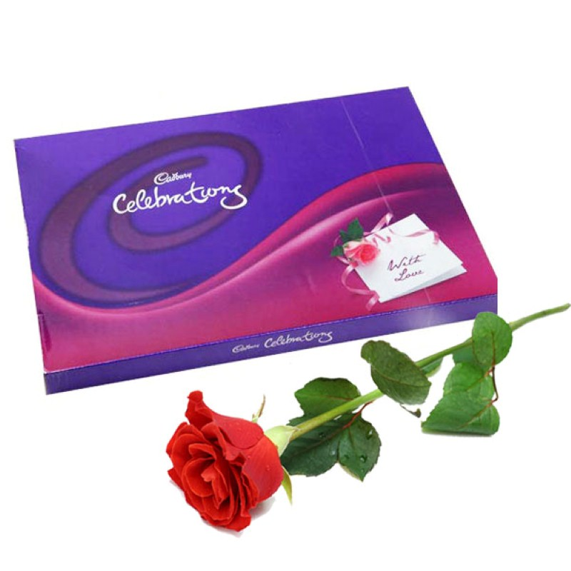 Single Red Rose with Cerebration Chocolates