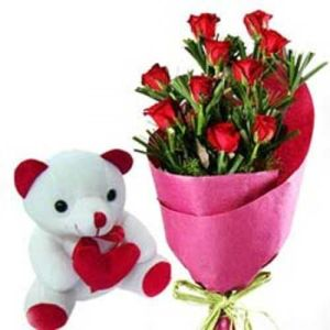 12 Red Roses N 6inch Teddy Bear