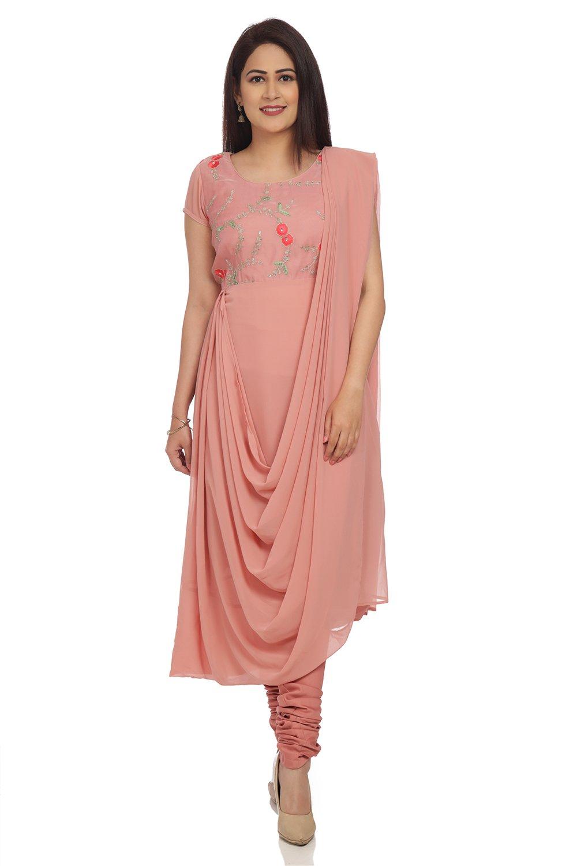Buy Online Dusky Pink Asymmetric Art Silk Suit Set for Women & Girls at  Best Prices in Biba India-SK