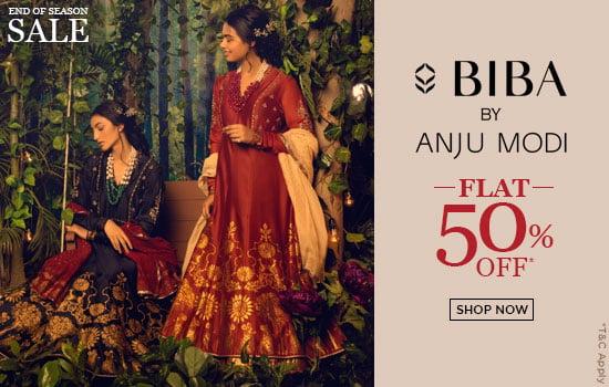 biba.in - 50% Discount on Anju Modi Womens Fashion Apparels