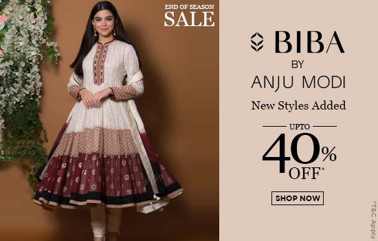 biba.in - Get Up to 40% Off on Anju Modi New Styles