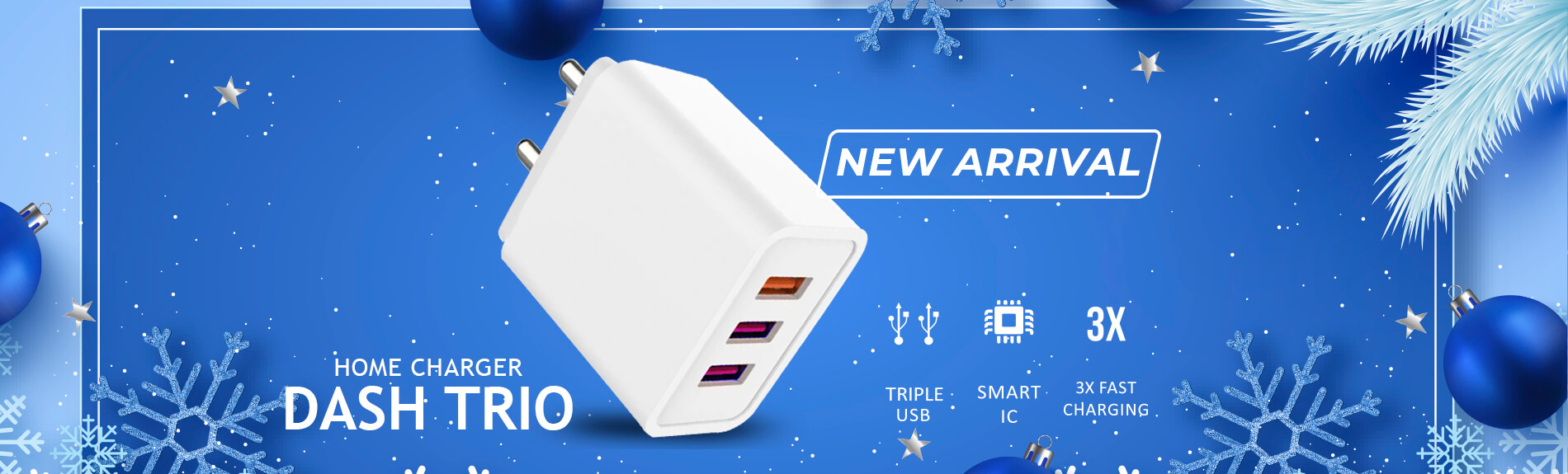 Trio Charger 3 port usb Fast charging