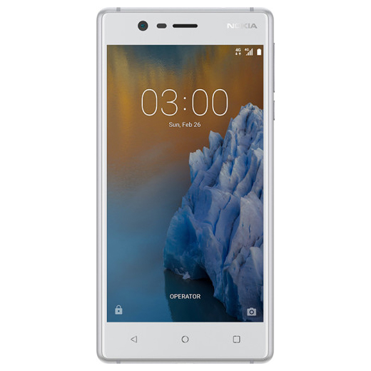 """Smart Phones, Mobile Phones, Nokia, Nokia 3 , 143.4 x 71.4 x 8.48 mm (8.68mm is camera bump) , - , 8MP AF, 1.12um, f/2, FOV 84 degrees , 1080p@30fps , 1.12 µm pixel size, geo-tagging, touch focus , 8MP AF, 1.12um, f/2, LED flash , Yes , Yes , HSPA 42.2/5.76 Mbps, LTE Cat4 150/50 Mbps , Yes , Micro USB 2.0 , Yes , 5.0"""" IPS LCD Resolution HD (1280 x 720, 16:9) Material 2.5D sculpted Corning® Gorilla® Glass Brightness 450 nits, laminated Features Polarizer , Yes , 5"""