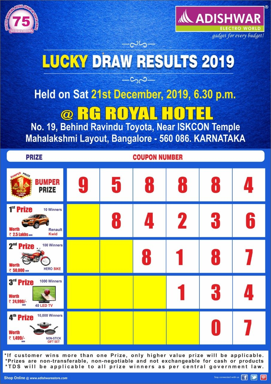 LUCKY DRAW RESULTS 2019