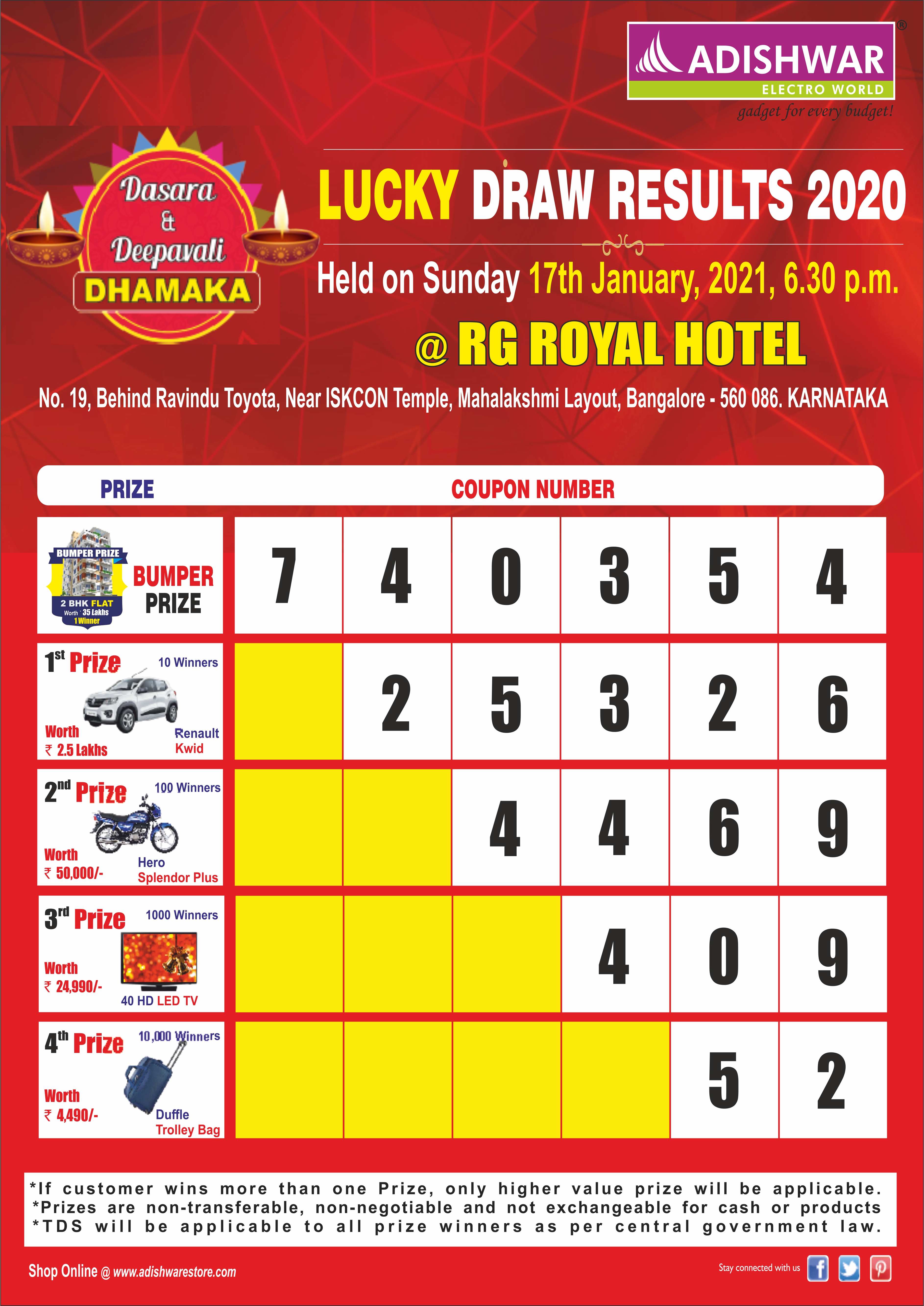 LUCKY DRAW RESULTS 2020