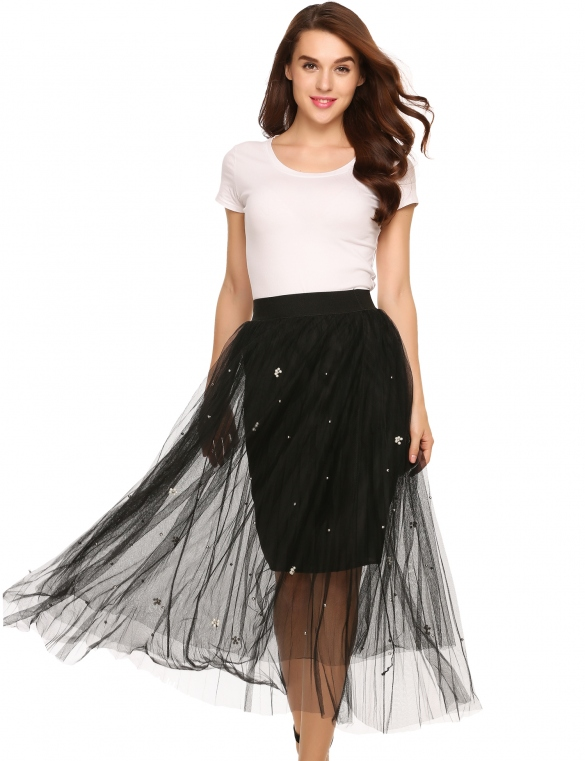 Skirts/Bottoms, Pre-Order, Nine Box, Mesh Skirt with Pearl Beads