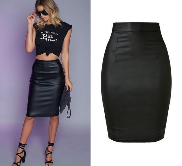 Skirts/Bottoms, Pre-Order, Nine Box, High Waist Leather Skirt