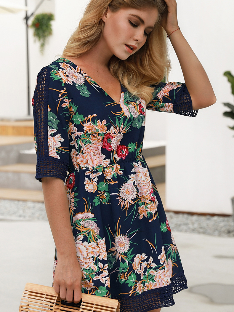 Dresses, Pre-Order, Nine Box, Navy Blue Floral Printed Dress