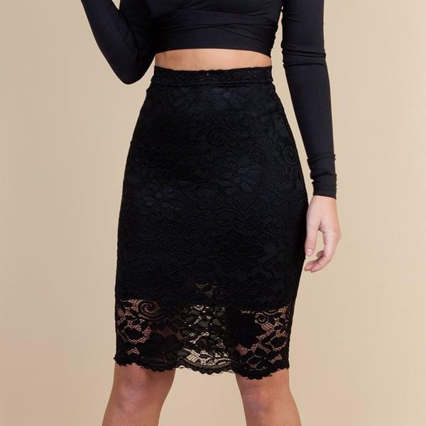 Skirts/Bottoms, Pre-Order, Nine Box, Black Lace Skirt