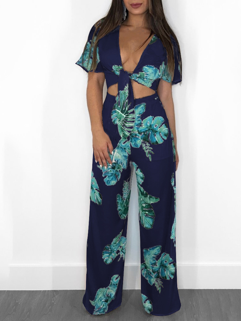 Jumpsuits, Pre-Order, Nine Box, Navy Blue Tropical Printed Crop Top and Pant Set