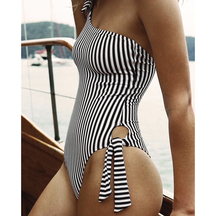 One-Pieces, Swimwear, Pre-Order, Nine Box, Navy and White Striped One Shoulder One Piece Swimsuit