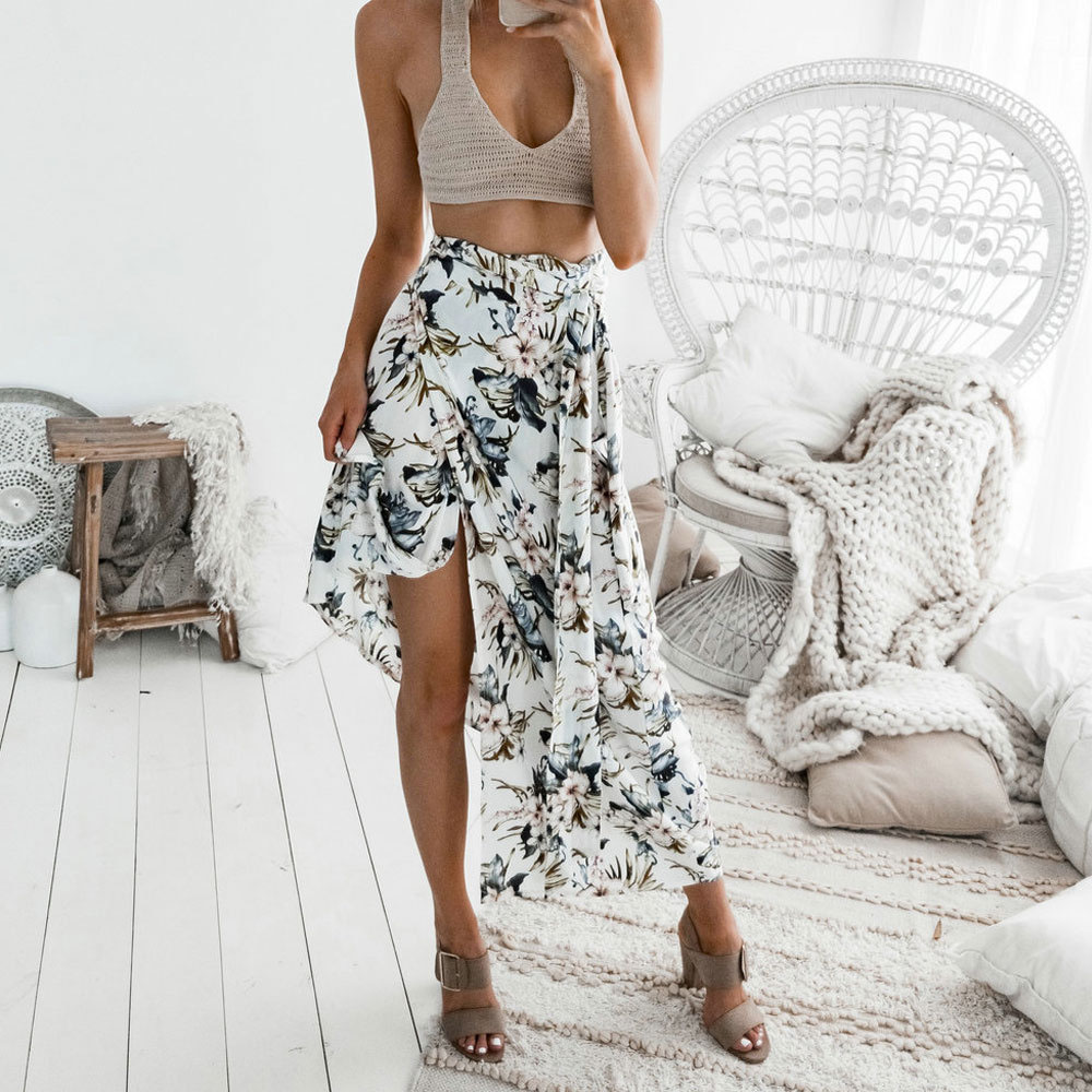Skirts/Bottoms, Pre-Order, Nine Box, White Floral Tie Wrap Skirt