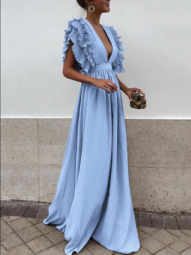 Dresses, Pre-Order, Nine Box, Blue V-Neck Ruffled Sleeve Maxi
