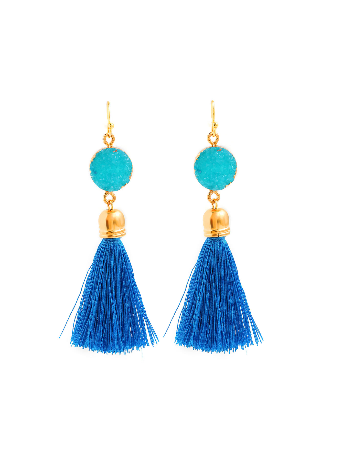 Earrings, Jewellery, Accessories, Nine Box, Nine Box, Crystal Detail Tassel Drop Earrings in Blue