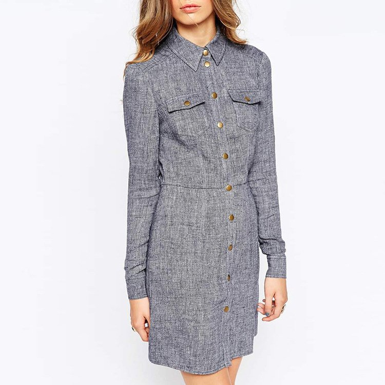 Dresses, Pre-Order, Nine Box, Grey Button Down Dress