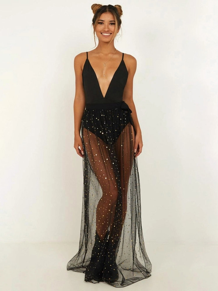Skirts/Bottoms, Pre-Order, Nine Box, Sheer Black Skirt with Sequins