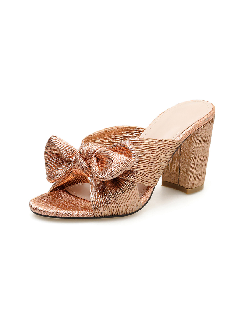 Shoes, Pre-Order, Nine Box, Rose Gold Block Heels with Bow