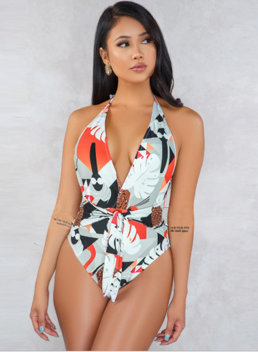 One-Pieces, Swimwear, Pre-Order, Nine Box, Tropical Print Deep V Neck Halter Swimsuit