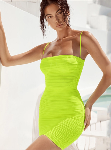 Dresses, Pre-Order, Nine Box, Fluorescent Green Ruched Dress