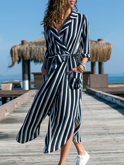 Dresses, Pre-Order, Nine Box, Navy Blue and White Striped Collared Maxi Dress
