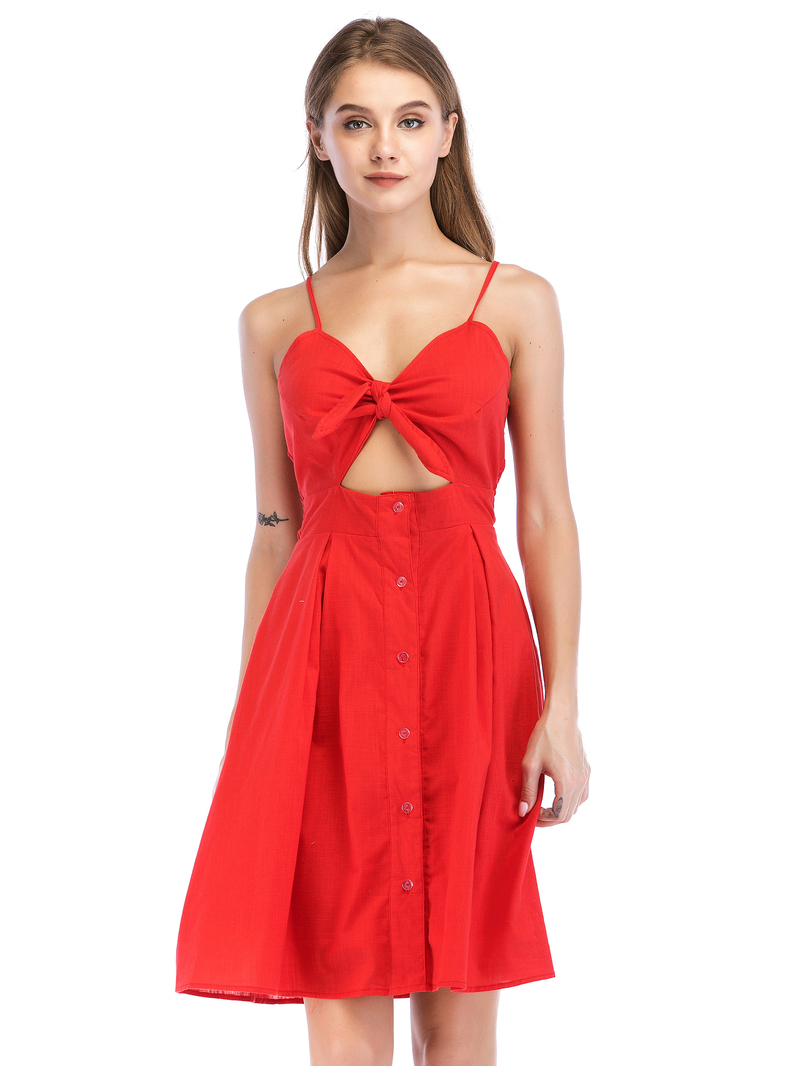Dresses, Pre-Order, Nine Box, Red Knot Front Sundress
