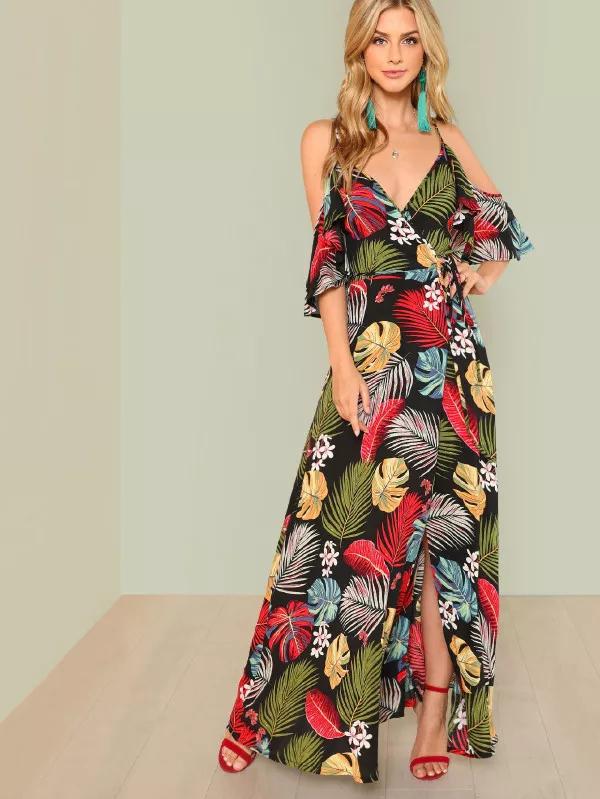 ca57b55d3f8 Tropical Print Cold Shoulder Maxi Dress