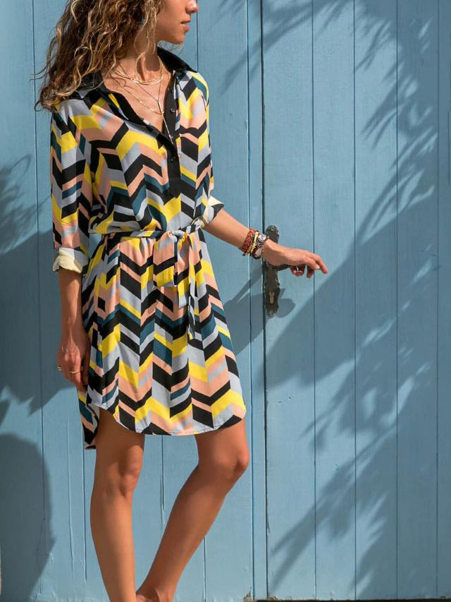 Dresses, Pre-Order, Nine Box, Multi-Colored Chevron Print Shirt Dress