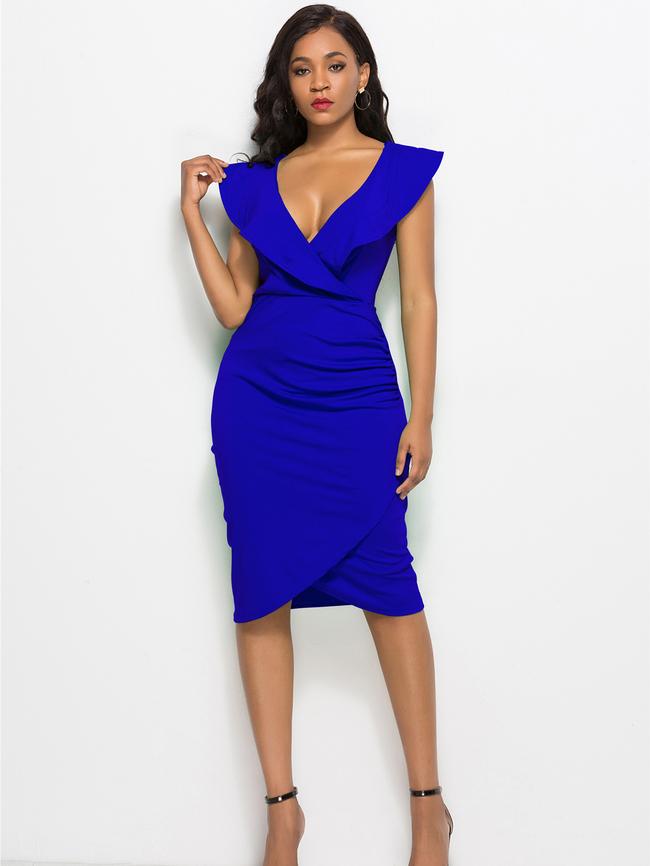 Dresses, Pre-Order, Nine Box, Royal Blue Ruffled V-Neck Asymmetrical Dress