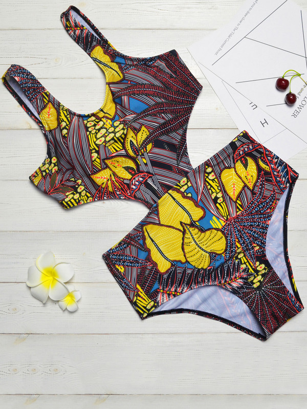 One-Pieces, Swimwear, Pre-Order, Nine Box, Tropical Print Cut-Out Swimsuit