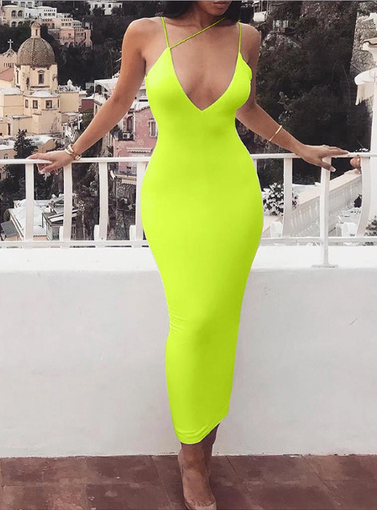 Dresses, Pre-Order, Nine Box, Fluorescent Green Deep V Neck Midi Bodycon Dress