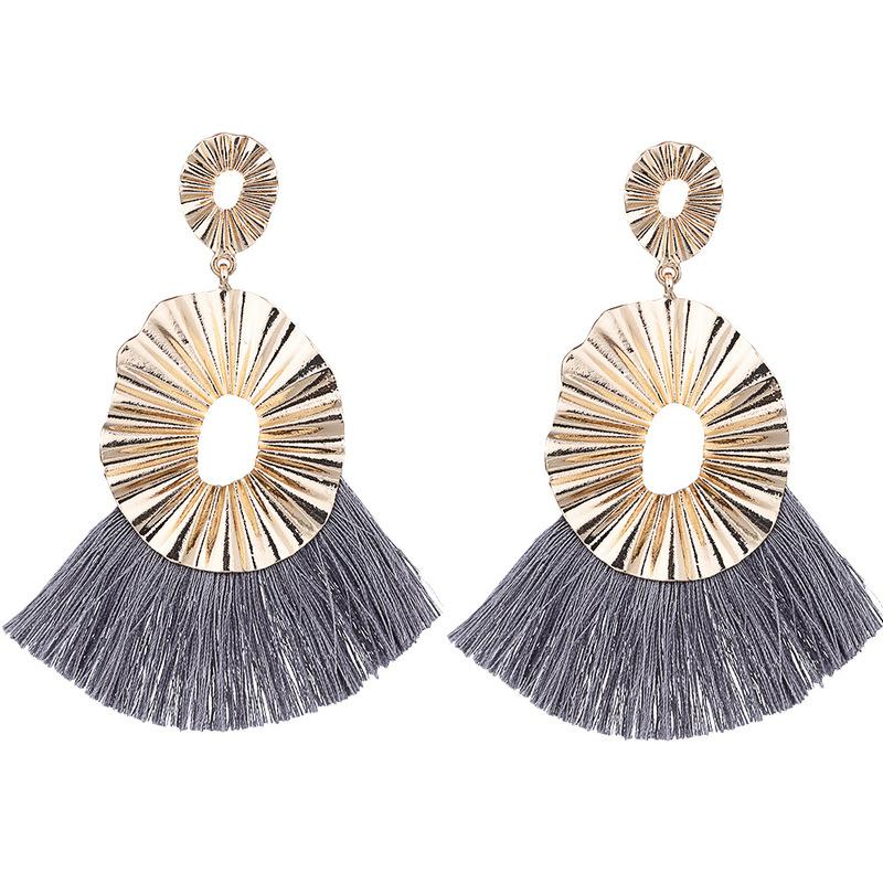 Earrings, Jewellery, Accessories, Nine Box, Nine Box, Aria Grey Tassel Earrings